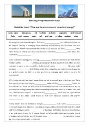 English Worksheet: Environmental Impacts of Energy - Listening Activity