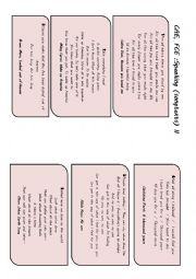 English Worksheet: CAE and FCE �SPEAKING� Preparation (songtext based) II (Prompts or �cheats� included)
