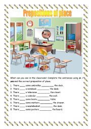 English Worksheet: Prepositions of place