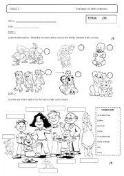 English Worksheet: Family Members Activity/Evaluation