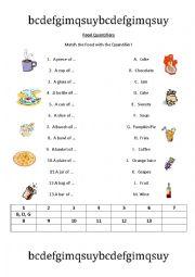 English Worksheet: Food Quantifiers Matching Game