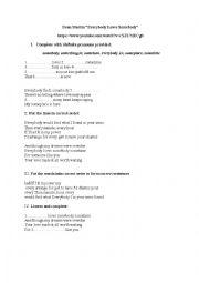 english worksheets indefinite pronouns everybody loves somebody. Black Bedroom Furniture Sets. Home Design Ideas