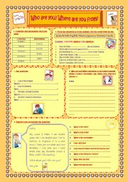 English Worksheet: Who are you? Where are you from?