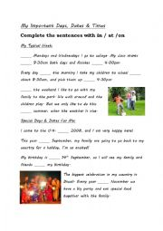 English Worksheet: Prepositions of Time - My Important Days, Dates & Times