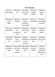English Worksheet: truth or dare for elementary