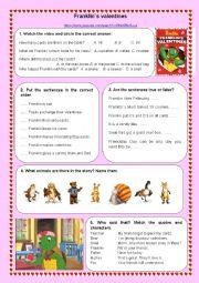 English Worksheet: Franklin`s valentines