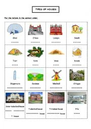 English Worksheet: Types of houses