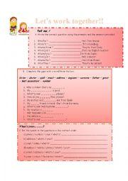 English Worksheet: Interrogative sentences - Verb to Be