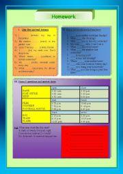 English Worksheet: Homework