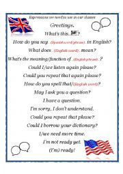English Worksheet: Expressions for the English classroom