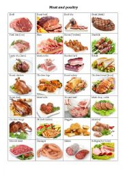 English Worksheet: Meat and Poultry flashcards (Vocabulary worksheet)