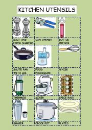 English Worksheet: KITCHEN UTENSILS 2