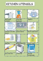 English Worksheet: KITCHEN UTENSILS 3