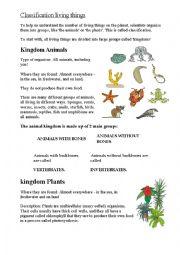 English Worksheet: Kingdoms