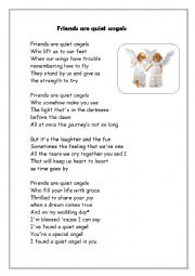 English worksheet: frinds are quiet angels