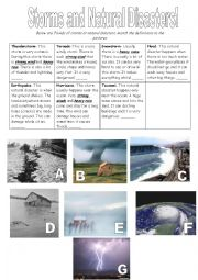 English Worksheet: Storms and Natural Disasters
