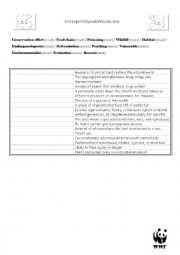 English Worksheet: Endangered Species vocabulary
