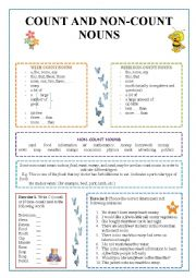 English Worksheet: Count and non-count nouns