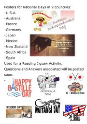 English Worksheet: Reading Jigsaw - National Day around the World Posters - Part 1 of 4
