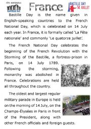 English Worksheet: Reading Jigsaw - National Day around the World Posters - Part 2 of 4