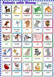 English Worksheet: Animals with Disney 2