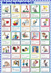 English Worksheet: What were they doing yesterday at 5 o�clock?