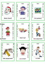 possesive adjectives / pronouns go fish game 1