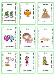 possesive adjectives / pronouns go fish game 2