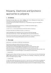 English Worksheet: Polysemy. Diachronic and Sychronic approaches