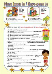 English Worksheet: Have been to - Have gone to