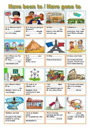English Worksheet: Have been to - Have gone to (2)
