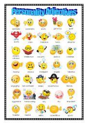 English Worksheet: Adjectives: Personality