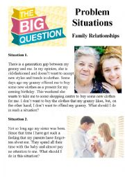English Worksheet: Family Relationships (Problem Situations)