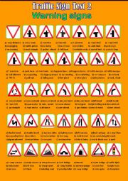 English Worksheet: Traffic Sign Test 2