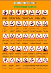 English Worksheet: Traffic Sign Test 3