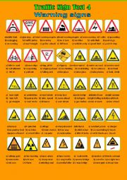 English Worksheet: Traffic Sign Test 4