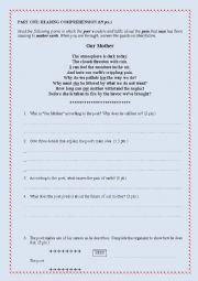 English Worksheet: Poem Exam (Comprehension questions/grammar/ writing)