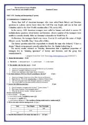 English Worksheet: the second term Exam of English about a survey