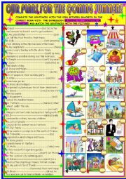 English Worksheet: Our plans for the coming summer: BE  GOING  TO