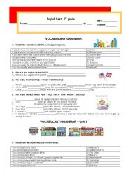 English Worksheet: Test - Vocabulary and grammar