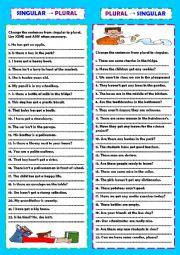 English Worksheet: Singular & plural practice