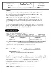 English Worksheet: 3rd term test - 7th grade