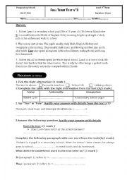 3rd term test - 7th grade