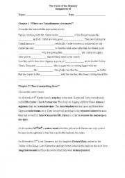 English Worksheet: The Curse of the Mummy - Chapters 1 and 2
