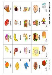 English Worksheet: Food Game - Tic Tac Toe