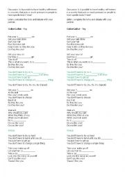 English Worksheet: Song: Try, by Colbie Caillat - Self-esteem discussion starter