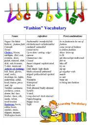 English worksheet: Fashion Vocabulary + exercises