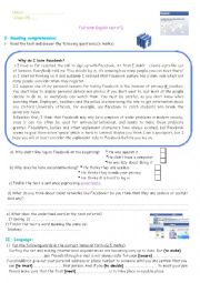 English Worksheet: Facebook, exam in context