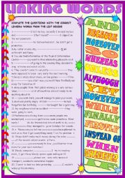 English Worksheet: Linking words: practice with key