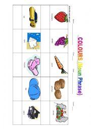 English Worksheet: Colours (Noun Phrase)